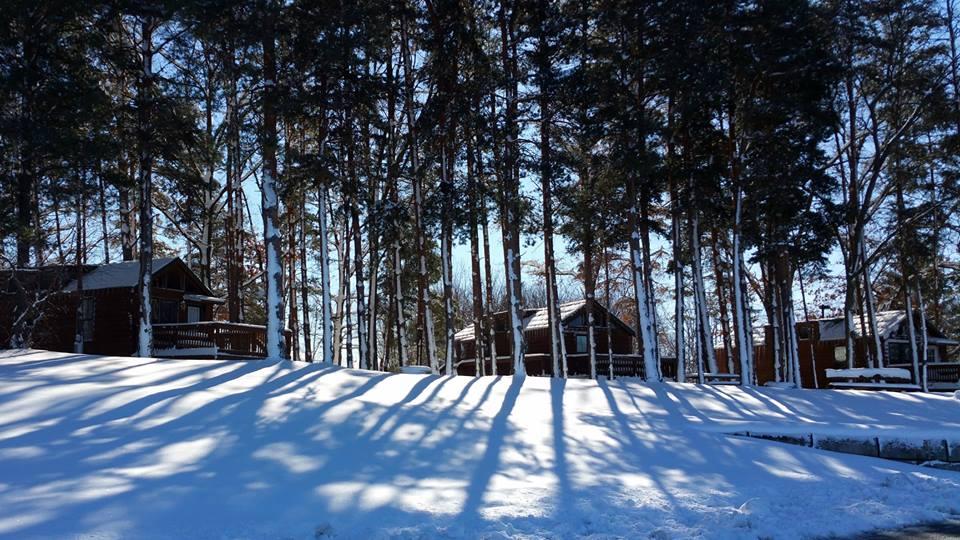 snowy lodges