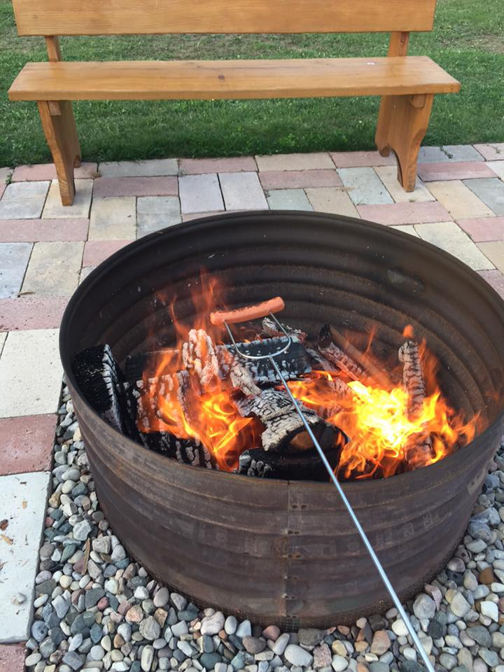hot dogs in firepit